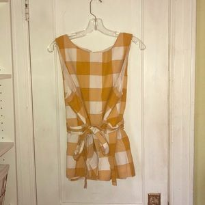 Tied Peplum Checkered Top